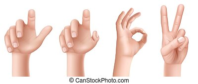 Set of hand gestures with a raised finger up, an OK sign and...