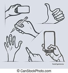 set of hand gestures with smartphon