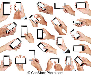 set of hand holding mobile smart phone with blank screen -...