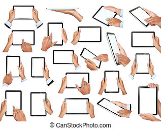 set of hand holding tablet