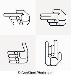 set of hand icons with gestures