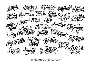 Set of hand lettering. Biggest cities in the world. Kiev, Almaty, London, Lisbon, Paris, Tokyo, Moscow, New York, Buenos Aires, Rome, Sydney, Barcelona