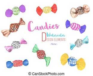 Set of hand painted watercolor candies, vector