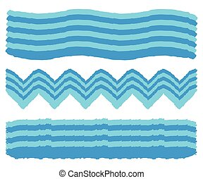 Set of Hand Painted Wave Brush Strokes. Watercolor Wave Brush. Vector illustration