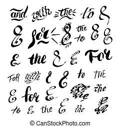 Set of hand sketched ampersands. Vector illustration.