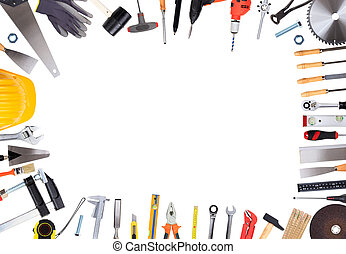 Set of hand tools with copy space