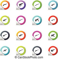 Set of hand weapons - Hand weapons pointer on the color...