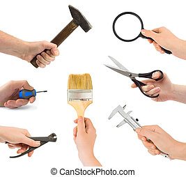 Set of hands with tools isolated on white background
