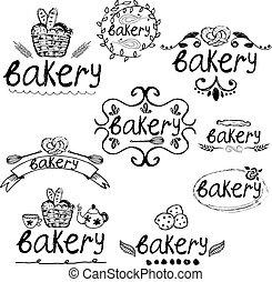 Set of hand written label for bakery theme. Vector illustration