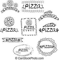 Set of hand written label for pizza theme. Vector illustration