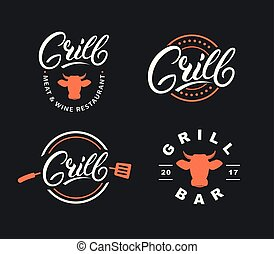 Set of hand written lettering grill logo