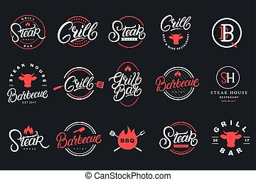 Set of hand written lettering logo