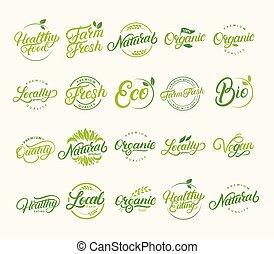 Set of hand written lettering logos of vegetarian, natural, organic, farm fresh.