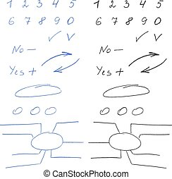 Set of hand written numbers and  elements