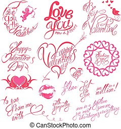 Set of hand written text: Happy Valentine`s Day, I love you, Be my Valentine, etc. Calligraphy elements for holidays or wedding design in vintage style, hearts, birds, angels.
