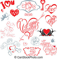 Set of hand written text: Happy Valentine`s Day, I love you, Just for you, etc. in heart shape. Calligraphic elements for holidays or wedding design in vintage style.