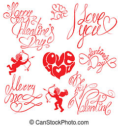 Set of hand written text: Happy Valentine`s Day, I love you, Merry me , etc. Calligraphy elements for holidays or wedding design  in vintage style.