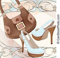 Set of handbag and shoes. Fashion boutique. Seasonal sale . Vintage style label design. lady's accessories. Goods for women.