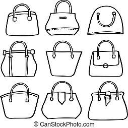 set of handbag doodle