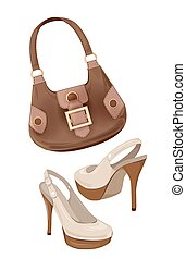 set of handbags and shoes