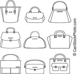 Set of handbags illustration on white background
