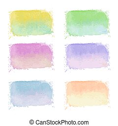 set of handdrawn bright watercolor labels on white