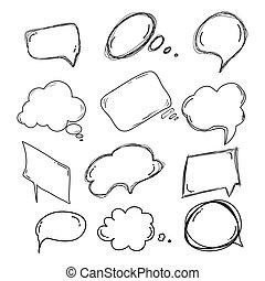 set of handdrawn doodle boobles for your text. design for comics Speech situation phrases with a black pencil. Vector illustration