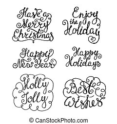 Set of handdrawn new year and christmas lettering.