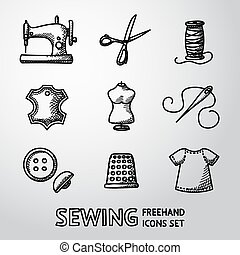 Set of handdrawn sewing icons - machine, scissors, thread, leather tag,mannequin, needle, buttons, thimble, fabric. Vector