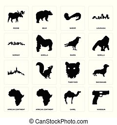 Set of handgun, camel, african continent, tiger face, , raven, norway, shrimp, moose icons