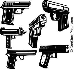 Set of handguns isolated on white background. Design element for