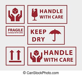 Set of handle with care icons