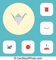 Set of handmade icons flat style symbols with origami, yarn, knit needle and other icons for your web mobile app logo design.