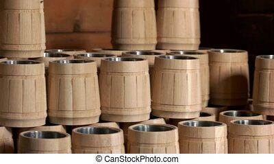 Set of handmade wooden beer mugs.
