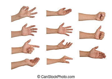 Set of hands counting from zero to five isolated