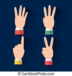 set of hands differents gestures count on fingers blue background