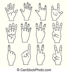 set of hands differents gestures outline design