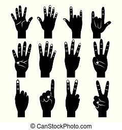 set of hands differents gestures pictogram
