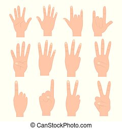 set of hands differents gestures