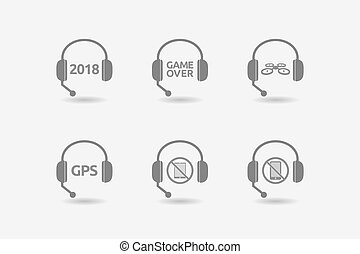 Set of hands free headsets with technology related icons