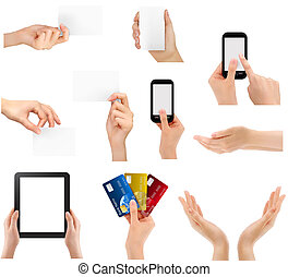 Set of hands holding different business objects. Vector illustration