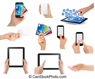 Set of hands holding different business objects. Vector...