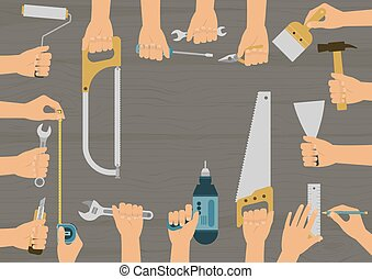 Set of hands holding diy hand tools