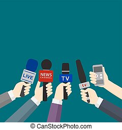 Set of hands holding microphones and digital voice recorders. journalism concept
