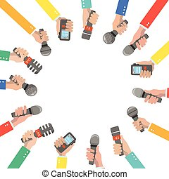 Set of hands holding microphones and voice recorders. ...