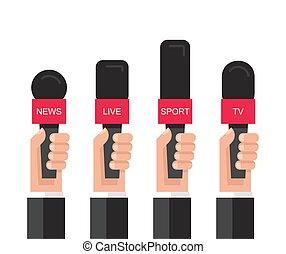 Set of hands holding microphones