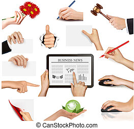 Set of hands holding objects