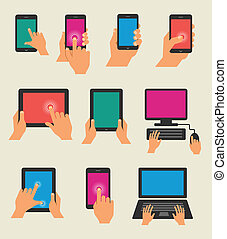Vector set of hands holding tablet and smart phones
