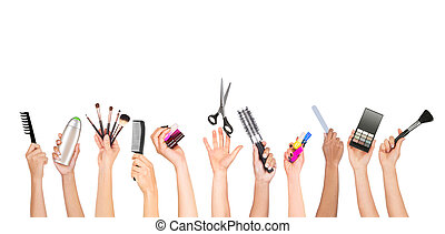 Set of hands holding tools for appearance care