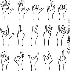 Set of hands in different gestures emotions isolated on white background